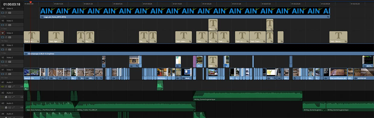 Timeline de montage pour un film institutionnel